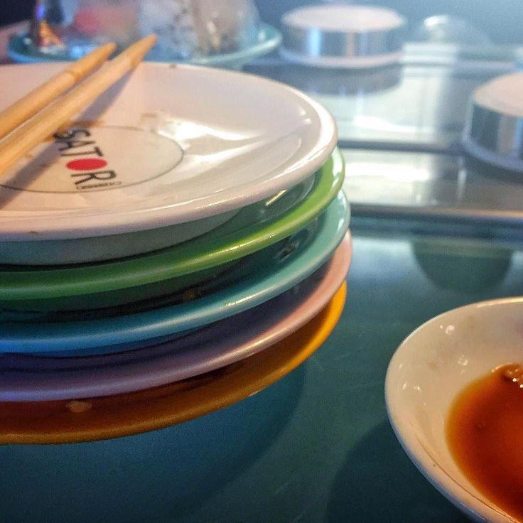One of every colour! #conveyorbeltsushi #satori #sushi #kingston #bentalls