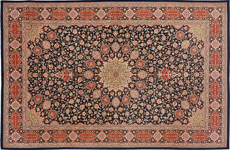 Premium quality hand-knotted rug in Ardabil design.   Available online: http://www.intricateworks.com/Black-Blue-Ardabil-Rug/dp/B00JFOJDGY