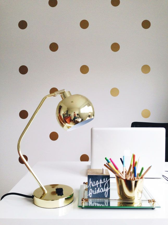 These gold polka dot decals are a dream.