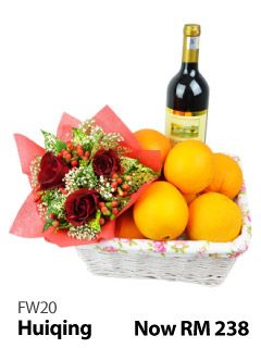 Mixed roses, mandarin oranges & 1 Bottle of Italy Great Ocean (Red Wine).