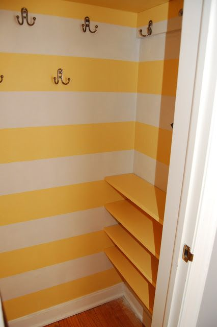Coat Closet Makeover: like the shelves for shoes on the side