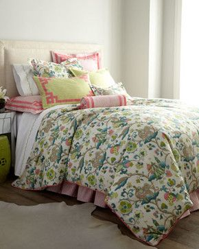 Jane Wilner Designs Queen Pink Stripe Dust Skirt - traditional - bedskirts - Horchow
