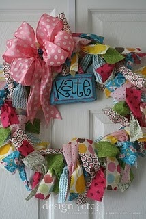 "love this - fun for hospital door when baby is born or could be a birthday wreath that says ""happy birthday"" instead of the name."