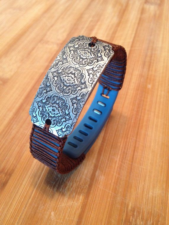 Fitbit Flex Band Slate and Brown and Silver by JennysTrinketShoppe