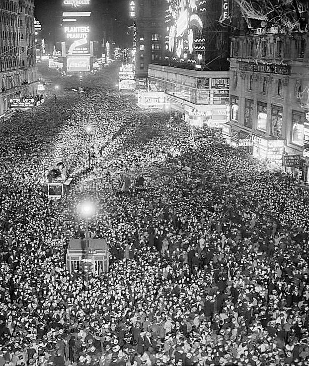 Times Square, New Year's Eve, 1937. (They must have been celebrating your upcoming April arrival)