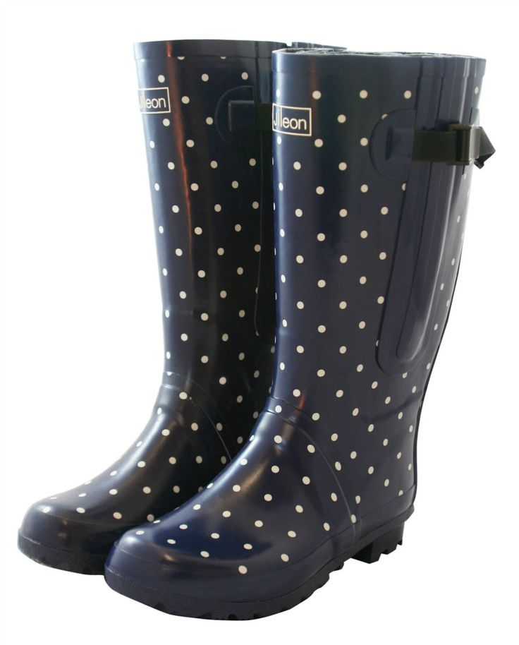 Jileon Wellies - Extra Wide Fit Navy Blue with White Spots Wellies, £54.99 (http://www.jileon.com/extra-wide-fit-navy-blue-with-white-spots-wellies/)