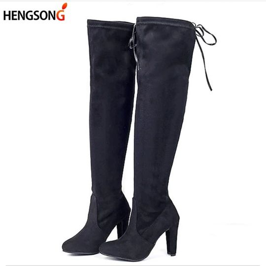 Stretch Faux Suede Female Women Boots Slim Thigh High Boots Sexy Fashi – moflily