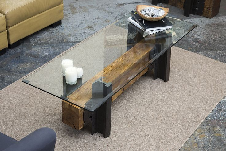 Double Track Coffee Table from Rail Yard Studios with natural finish on maple timber combined with century old salvaged railroad rail