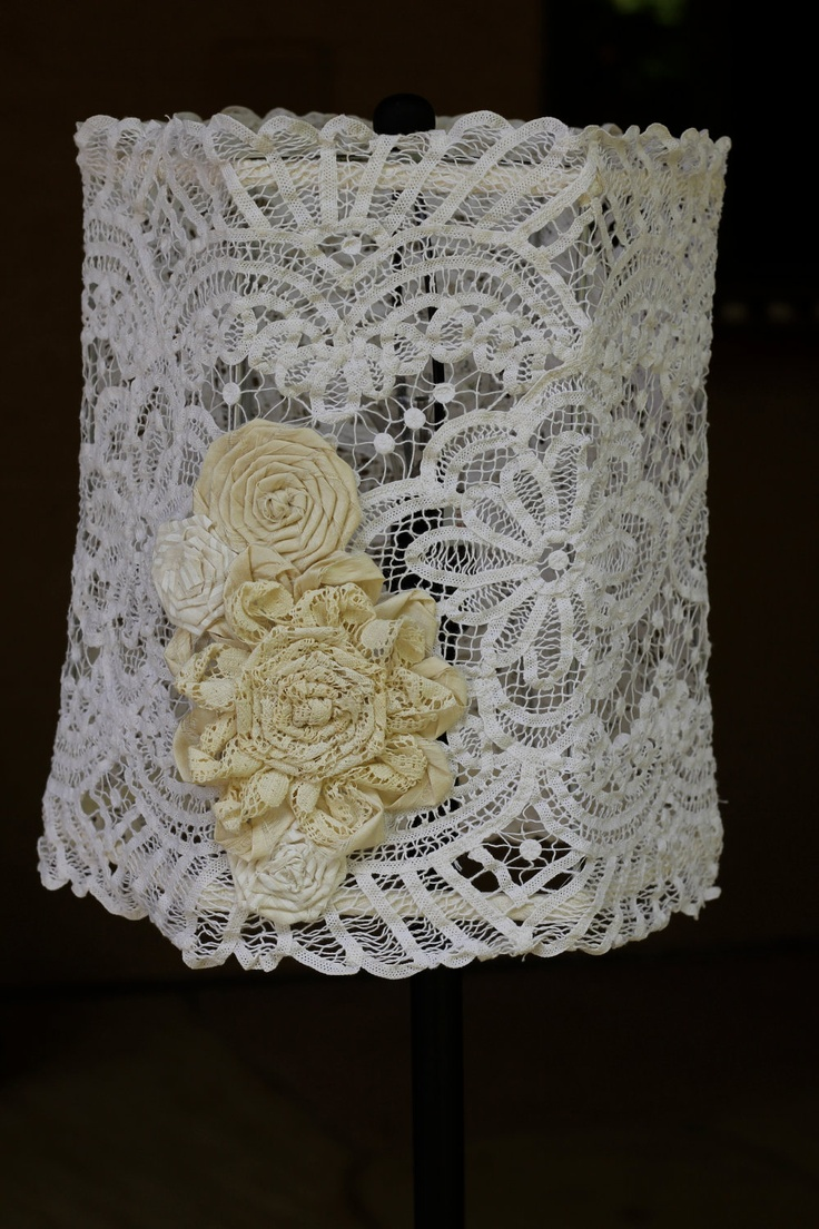 Handmade vintage doily shabby chic lampshade by - Decoracion shabby chic vintage ...
