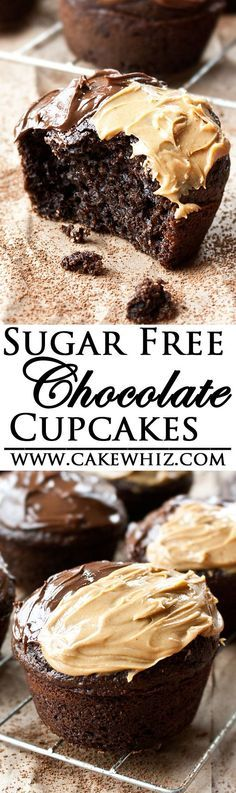 These delicious SUGAR FREE CHOCOLATE CUPCAKES are made with no sugar but are still incredibly soft! Made from scratch, this easy recipe is perfect for diabetics| #cupcakes #sugarfree | cakewhiz.com