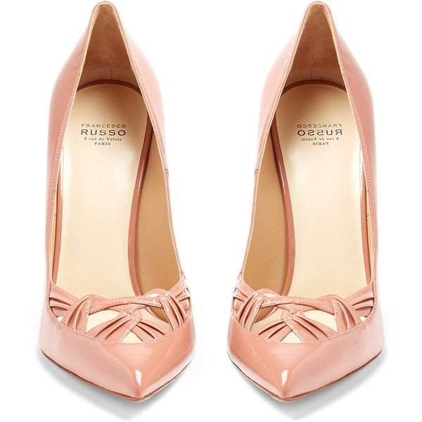Francesco Russo Point-toe patent-leather pumps ($650) ❤ liked on Polyvore featuring shoes, pumps, heels, high heel stilettos, pointy-toe pumps, pointed-toe pumps, patent leather pumps and pink pointed toe pumps