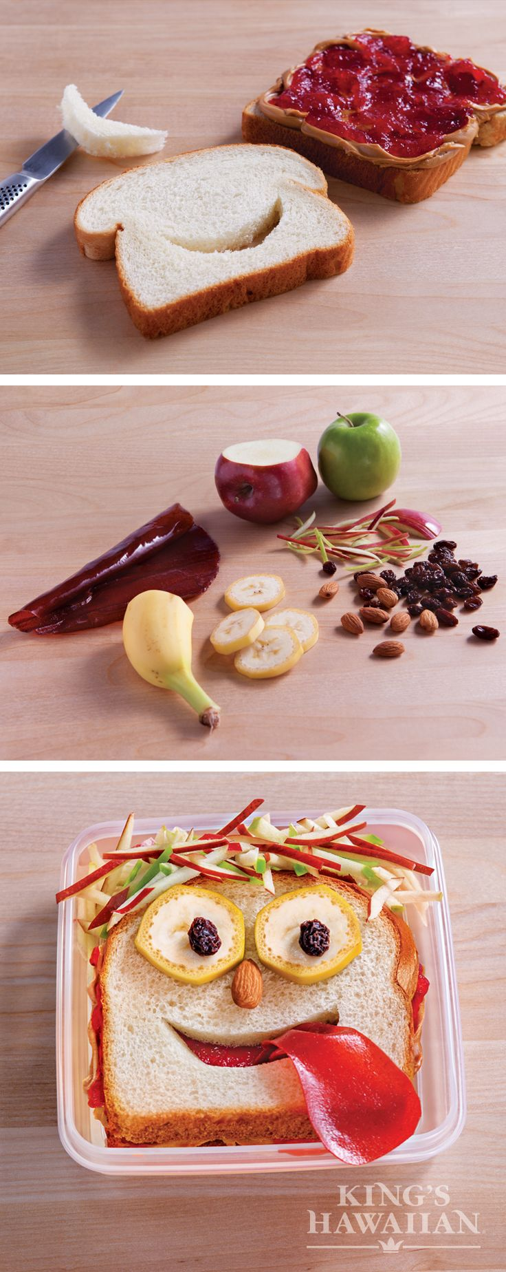 """Wanna give your kid a giggle? Put this oh-so-cute PB&J in their lunchbox. Some shredded apple """"hair"""" and a fruit snack tongue make a new lunchtime friend."""