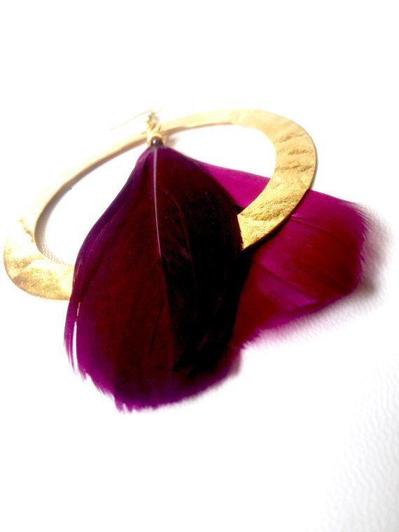 Feather earrings statement earrings gold by StefaniaJewelsShop