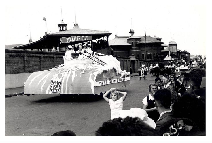 """Image 21806149 - A 'Reckitt's Blue float, which formed part of the """"Australia's March to Nationhood"""" parade on January 26th, 1938. This image was taken in Driver Avenue, Moore Park. Reckitt's Blue was stirred into the final rinse when washing cloths to whiten the clothing.  [RAHS Australia Day 1938 - Sesquicentenary Celebrations Collection]"""