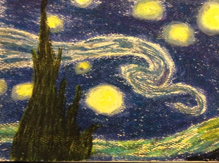 Starry night on card stock with oil pastel
