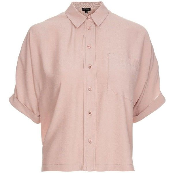 Topshop Dusty Pink Short Sleeve Roll Up Shirt ($36) ❤ liked on Polyvore featuring tops, shirts, button up collared shirts, pink top, pink button up shirt, pink short sleeve shirt and button down collar shirts