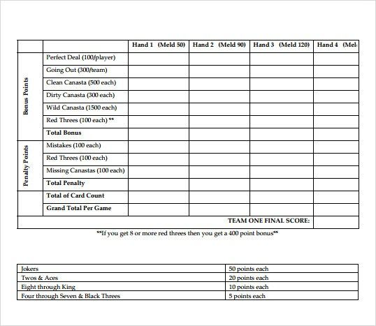 canasta score sheet 40