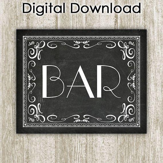 Bar Printable Wall Art Bar Poster Chalkboard Bar by SavvySilverArt