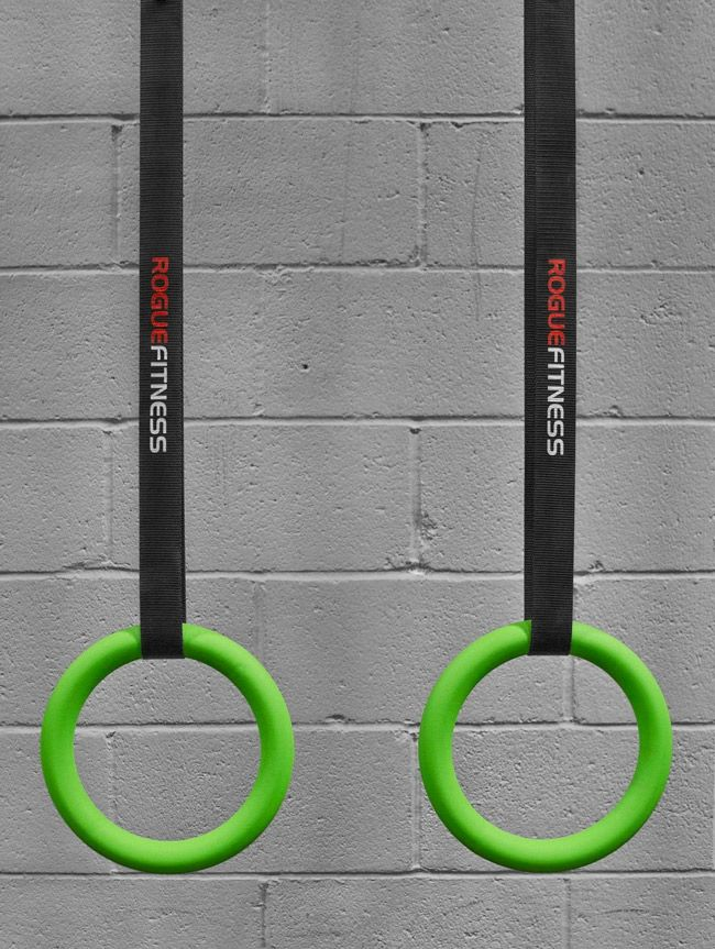 Rogue gymnastic rings for the obstacle course garage