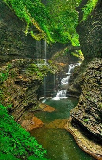 "Summer, Watkins Glen, New York. A village in Schuyler County, New York, United States. Watkins Glen State Park is the most famous of the Finger Lakes State Parks. Go ahead, get away for the weekend! last minute weekend deals - up to $10 Off, Travel with Code ""WEEKEND10"" http://www.anrdoezrs.net/click-7058749-10934437"