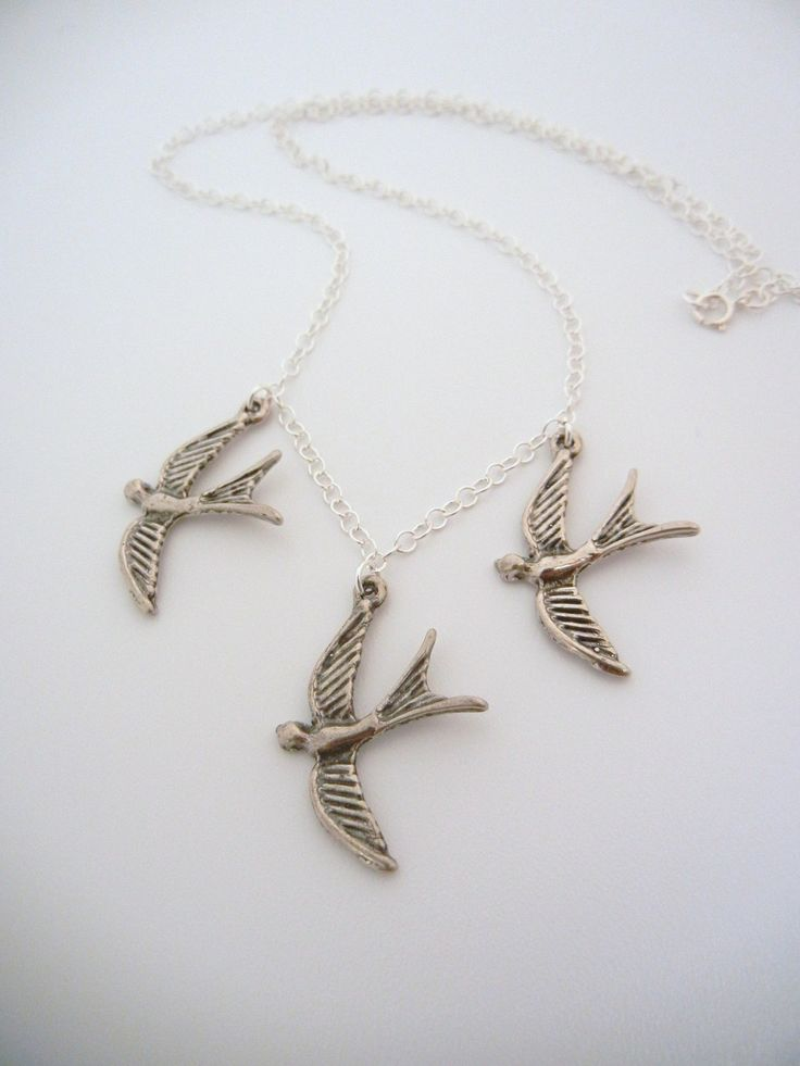 Divergent Tris three flying bird tattoo Sterling Silver Necklace. $27.00, via Etsy.
