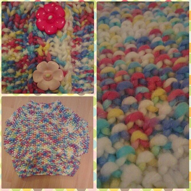 hand knitted super chunky multi coloured button back jumper with huge flower buttons