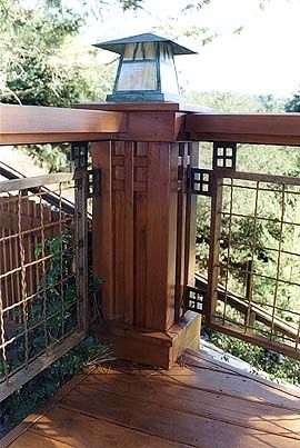 Craftsman Style Deck Railing Huh Wire Eh But I Do Love The Square Details Cabin Ideas Pinterest And