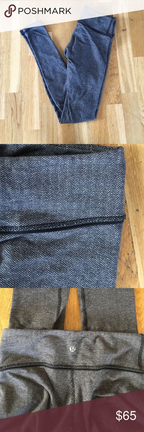 Super rare lululemon herringbone wonderunders Super comfy, have slight wear on the butt and bottom of the pants. They are made of thicker luon so they are warmer but I still wore them year round. Any lululemon store can hem them for you if needed. For some reason these didn't get stamped with a size but they are a size 2. lululemon athletica Pants Leggings