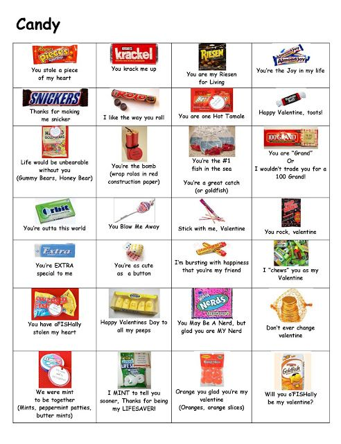 Candy Sayings  - you might need this someday for quick and inexpensive pop-by gifts ;)