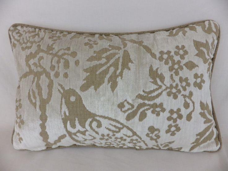Winter White Velvet Chenille Natural Bird Floral Lumbar Cushion