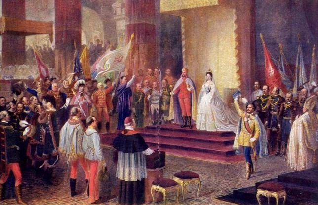 Ferenc József megkoronázása a  budai nagyboldogasszony   templomban