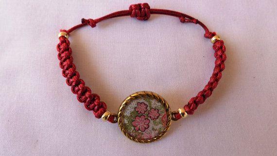 Decoupage bracelet macrame bracelet bordeaux by ArtisticBreaths