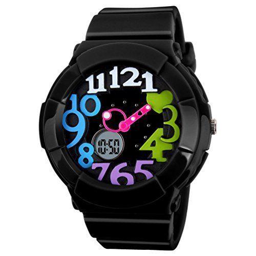 Women's Waterproof Digital Analog Sport Watch Valentine's Gift Black