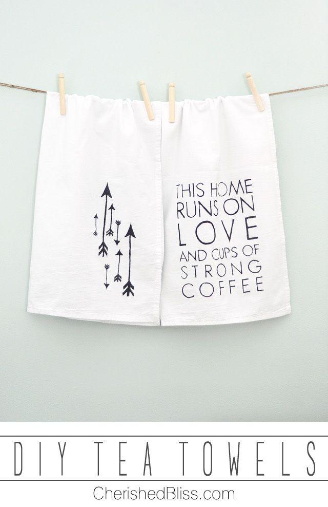 Create these fun DIY Tea Towels with this simple tutorial! via cherishedbliss.com