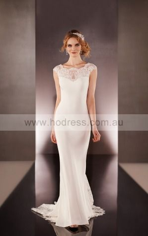 Sheath Scoop Empire Cap Sleeves Floor-length Wedding Dresses wes0167--Hodress