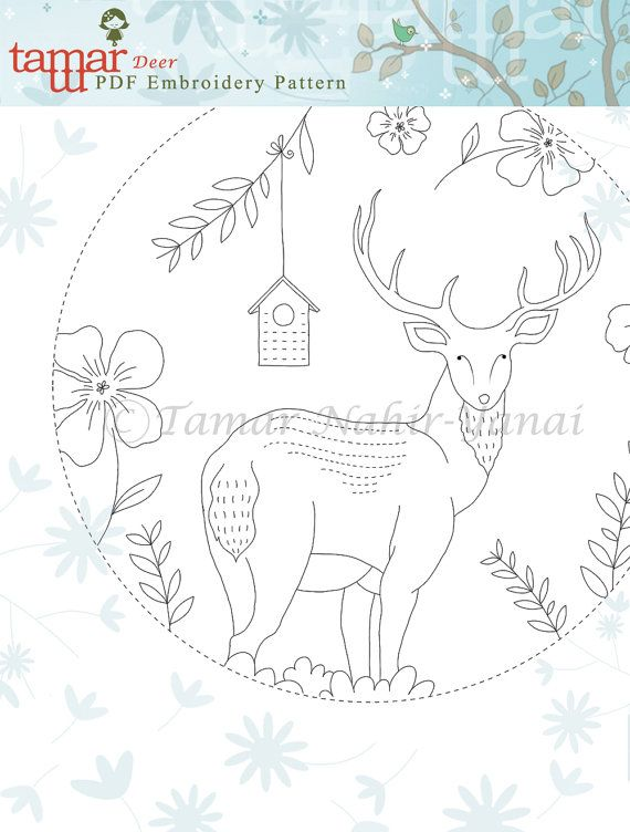Embroidery Pattern Instant Download Blue Deer by TamarNahirYanai