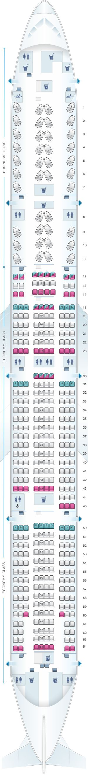 Seat Map Air Canada Boeing B777 300ER (77W) North America Layout 1