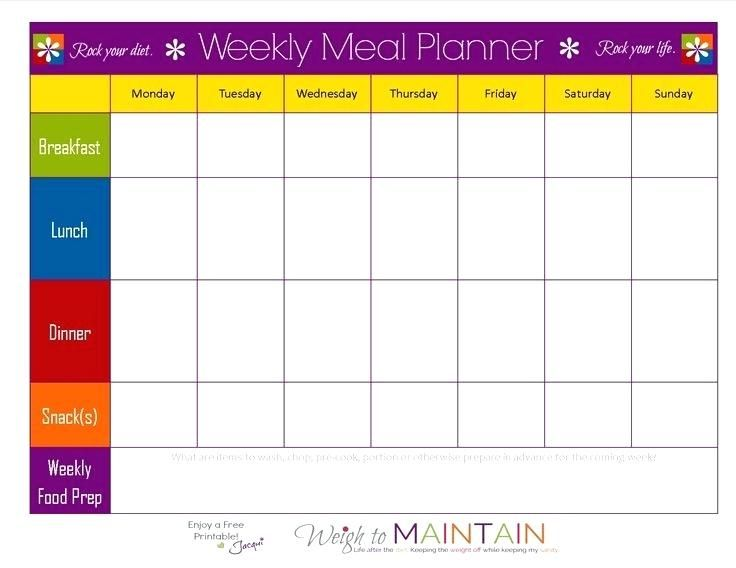Snack Calendar Template Printable Meal Plan School With Images
