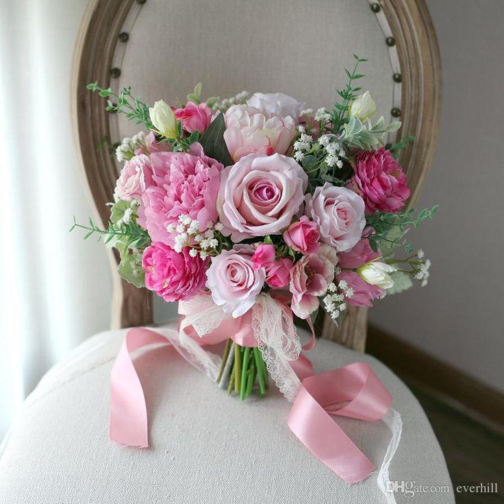 Romantic Outside Wedding Bride Holding Flowers Artificial Wedding Bouquets boeket Pink Roses Peony Bridal Bouquet Brooch Bruidsboeket 2018