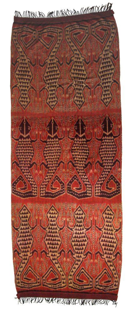 Pua Ikat ceremonial blanket, Serawak, North Borneo Design depicts lizards and geckos. Material: Cotton Age: 80-100 years Size: 34″ x 96″