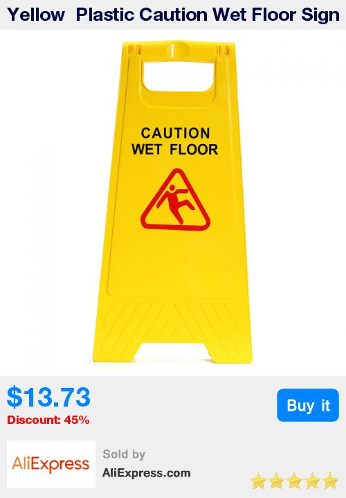 Yellow  Plastic Caution Wet Floor Sign Safety Hazard A Frame Cleaning Slippery Warning Both Side Durable * Pub Date: 03:59 Apr 6 2017