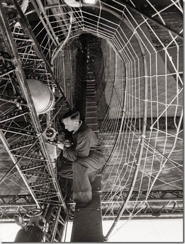 Robert Moser on an engine crosswalk in the Hindenburg.