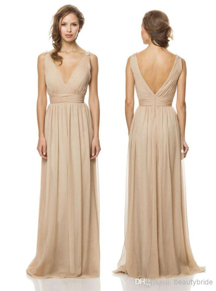 Simple Bridesmaids dresses Simple and perfect Champagne Chiffon Long Bridesmaid Dresses Backless Formal Gowns Beach Bridesmaid Dress For Weddings