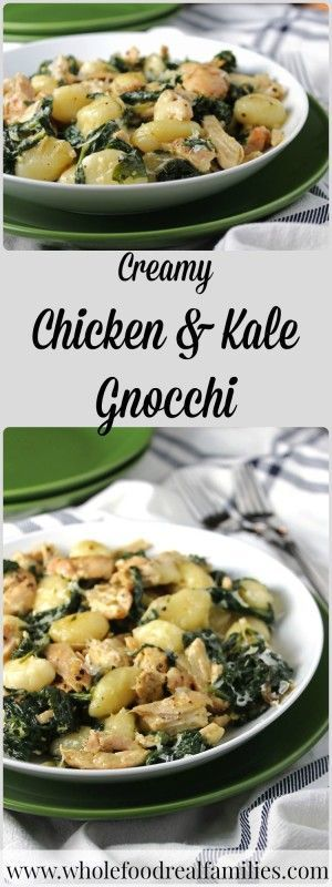 Creamy Chicken & Kale Gnocchi for a fast and healthy weeknight meal. This is the kale recipe for the kale skeptic. The creamy sauce tames the bite and makes even kale haters happy. @wholefoodrealfa