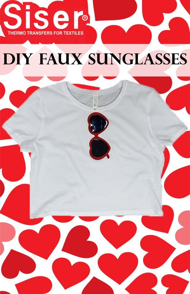 Red Heart Sunglasses design on a white crop top using Siser Brick and Holographic heat transfer vinyls. Learn how to layer materials and get inspired for your next iron on vinyl project! Materials used for this project can be found at these links http://www.siserna.com/brick http://www.siserna.com/holographic