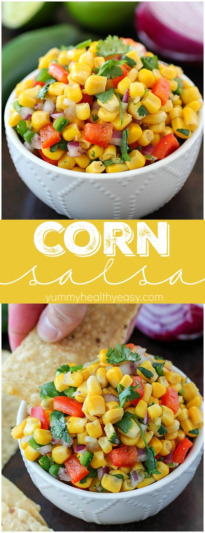 Corn Salsa recipe that's super easy to make and delicious! Using canned corn and other ingredients you probably already have on hand, this is the quickest salsa recipe & one of the most flavorful! Plus all about my Iowa Corn Quest trip! AD