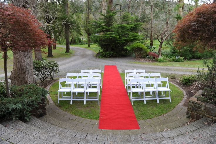 Our Waterfall ceremony Location #chateauwyuna #wedding #bride #groom #mrandmrs #weddingreception #ceremony #waterfall #redcarpet #grandentrance #whitechairs #americanachairs #garden #outdoors