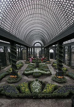 Duke Gardens    Gardens at Duke Farms, New Jersey / the walls and vaulted ceiling of the French garden, shading plants below.