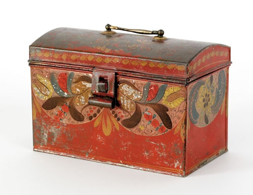Tole dome lid document box, 19th c., with floral decoration on a red ground