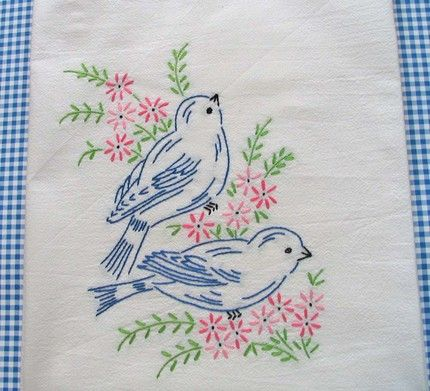 Hand Embroidered Bluebirds. My mother and Grandmother sewed this pattern on scarves and pillow cases.